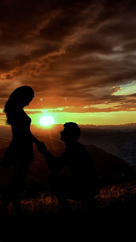 Wallpaper Couple, Silhouette, Lovers, Proposal, Sunset